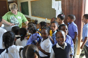 Tammy serving children at one of the many South African school we visited
