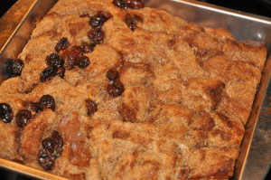 Bread pudding, half-enhanced with raisins!